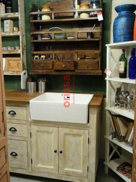 Cucina modulare in legno massello shabby chic e provenzale for Shabby chic cucina