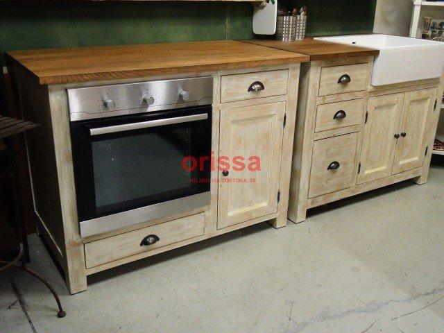 Cucina modulare in legno massello shabby chic e provenzale for Mobile cucina shabby