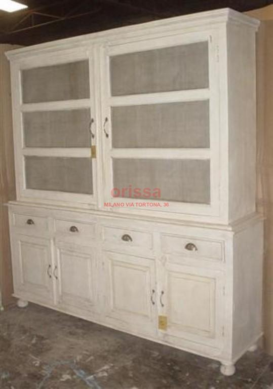 Credenza legno massello stile shabby chic or048 orissa - Cucina legno bianco decapato ...