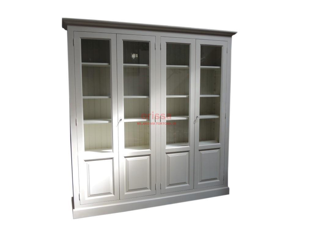 Libreria chiusa vetrina in legno massello con mensole for Mensole libreria