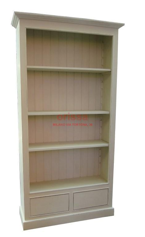 Libreria legno bianco decapato ms109 orissa milano for Scaffali libreria in legno