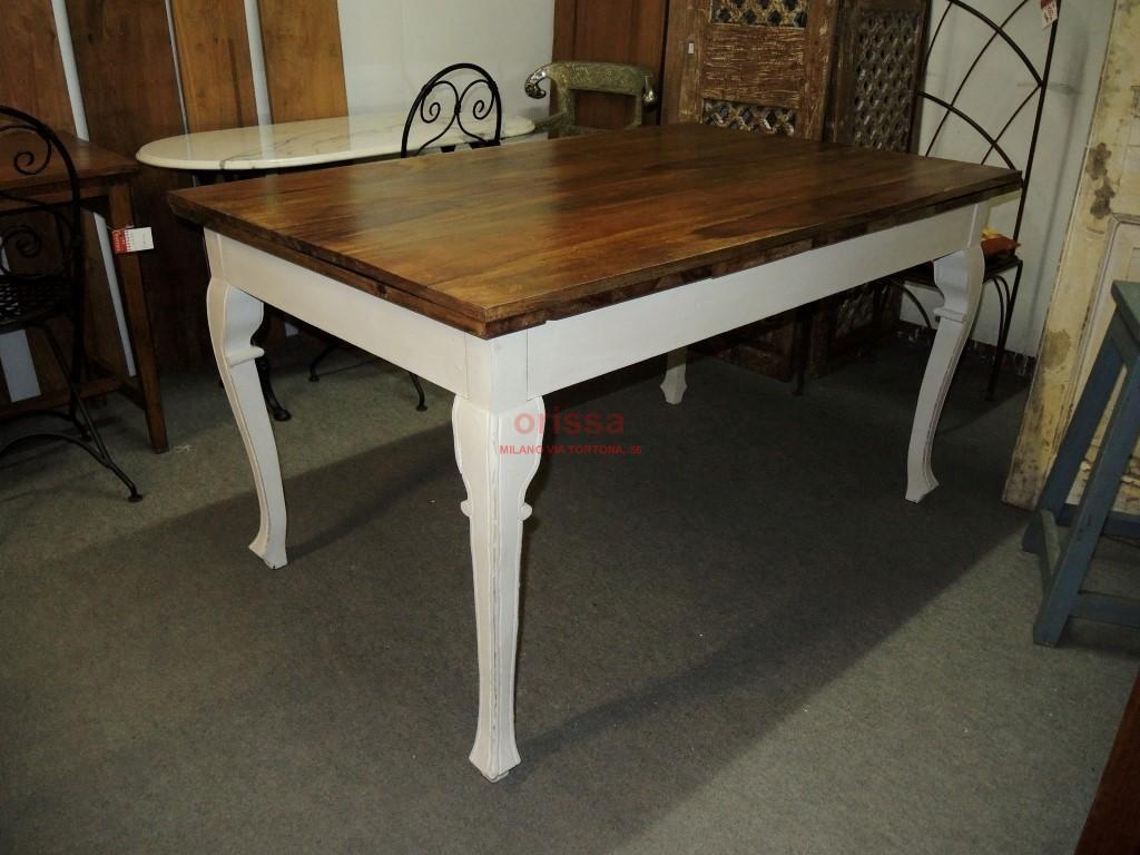Tavolo allungabile con gamba bianca decapata cx013 - Tavolo allungabile milano ...