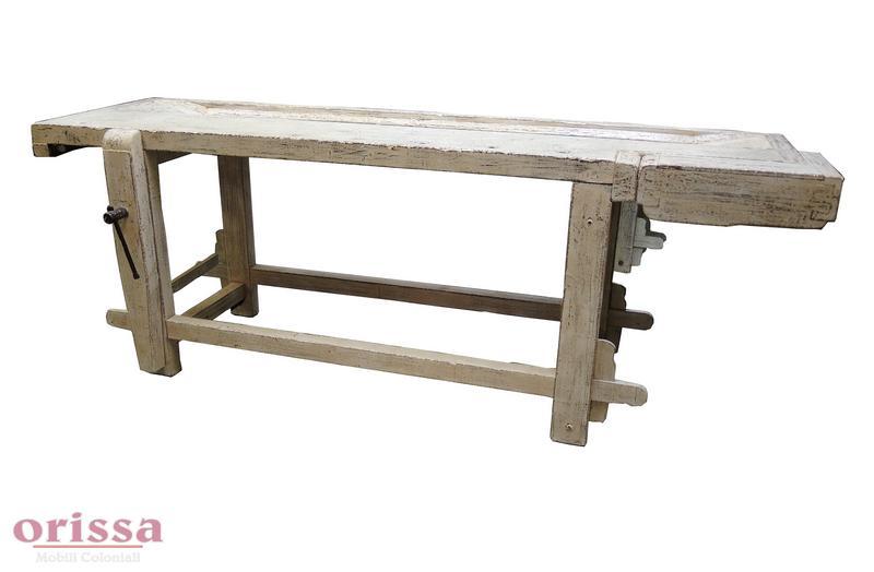 Tavolo da falegname bianco decapato cx028 orissa milano - Tavolo da falegname ...