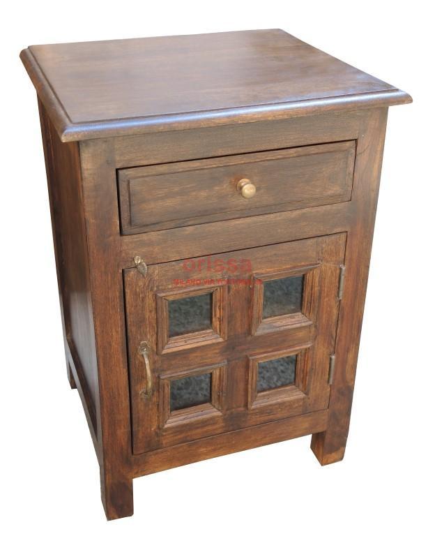 Comodino chiuso in legno massello con cassetto ed antina. | OR065 ...