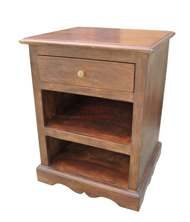 Simple comodino legno massello with comodini etnici for Arredamento etnico brescia