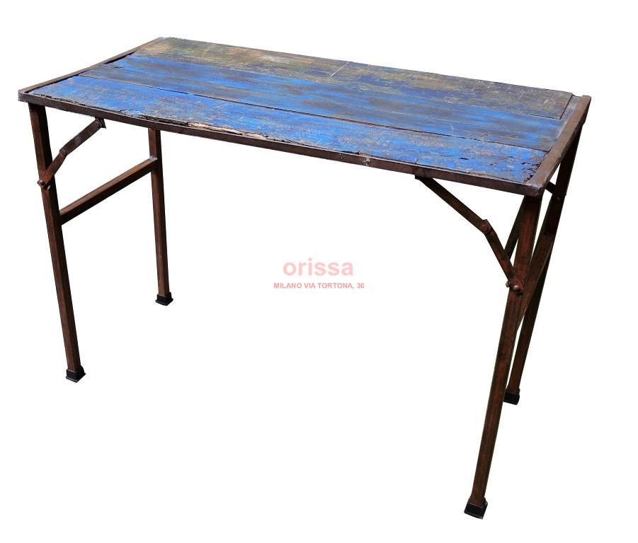 Tavolo ferro e legno pieghevole d0906 orissa milano - Tavolo in legno pieghevole ...