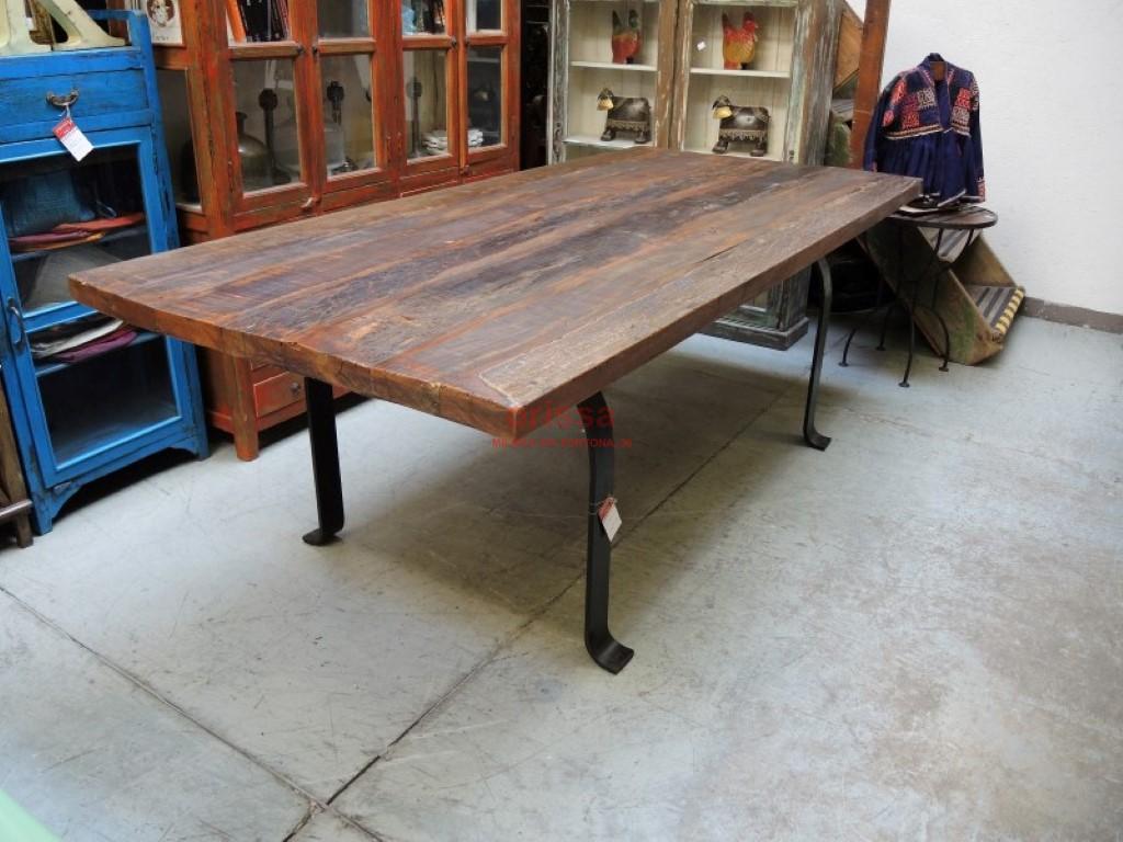 Tavolo assi legno massello gamba u f9x005 orissa milano for Tavolo rustico legno