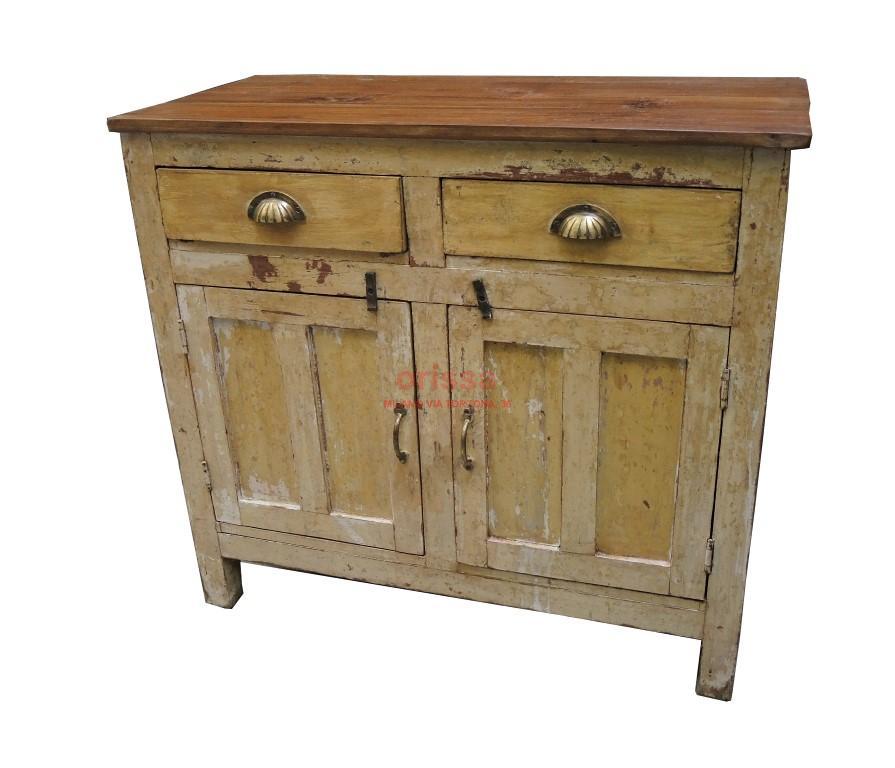 Credenza shabby chic legno di teak g1110 orissa milano for Credenza industriale