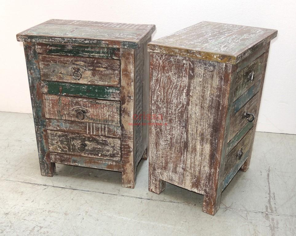 Comodino in legno massello con cassetti | SHT004 | ORISSA Milano