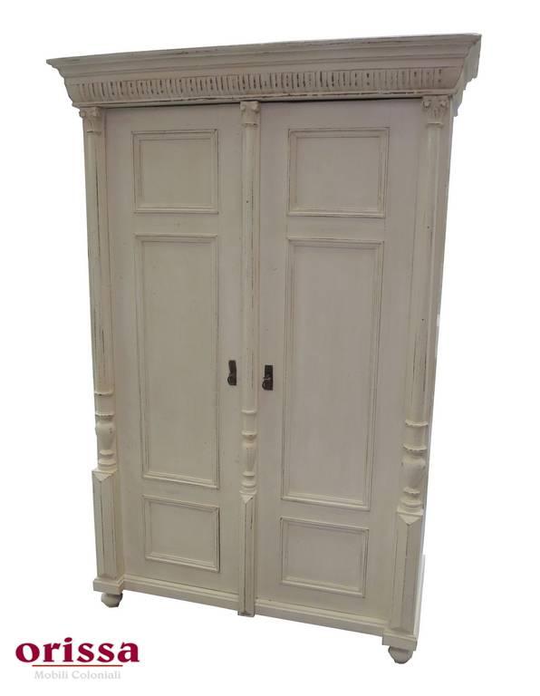 Armadio in legno shabby chic bianco u024 orissa milano for Armadio shabby