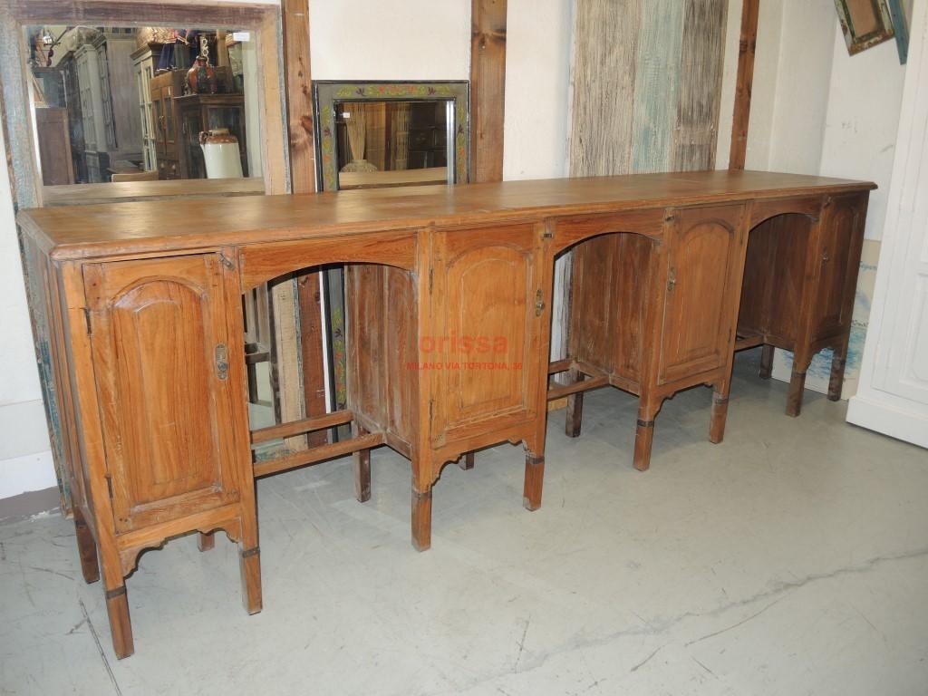 Bancone in legno di teak coloniale cole0002 orissa milano for Bancone bar inglese