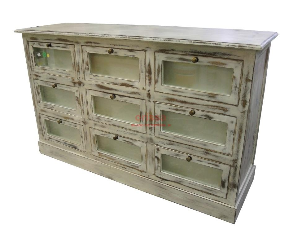 Cassettiera bianco decapato shabby chic or008 orissa for Mobili decapati