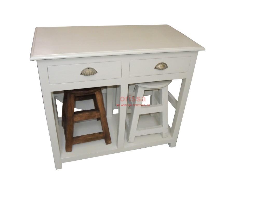 Tavolo consolle con aletta e sgabelli bianco decapato - Ikea tavolo quadrato ...