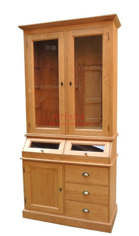 Credenza in legno massello con cassetti finiture shabby for Credenza colorata
