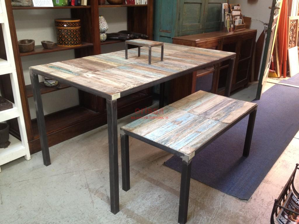 Tavolo shabby con base in ferro sht002 orissa milano - Tavoli da pranzo ferro battuto e vetro ...