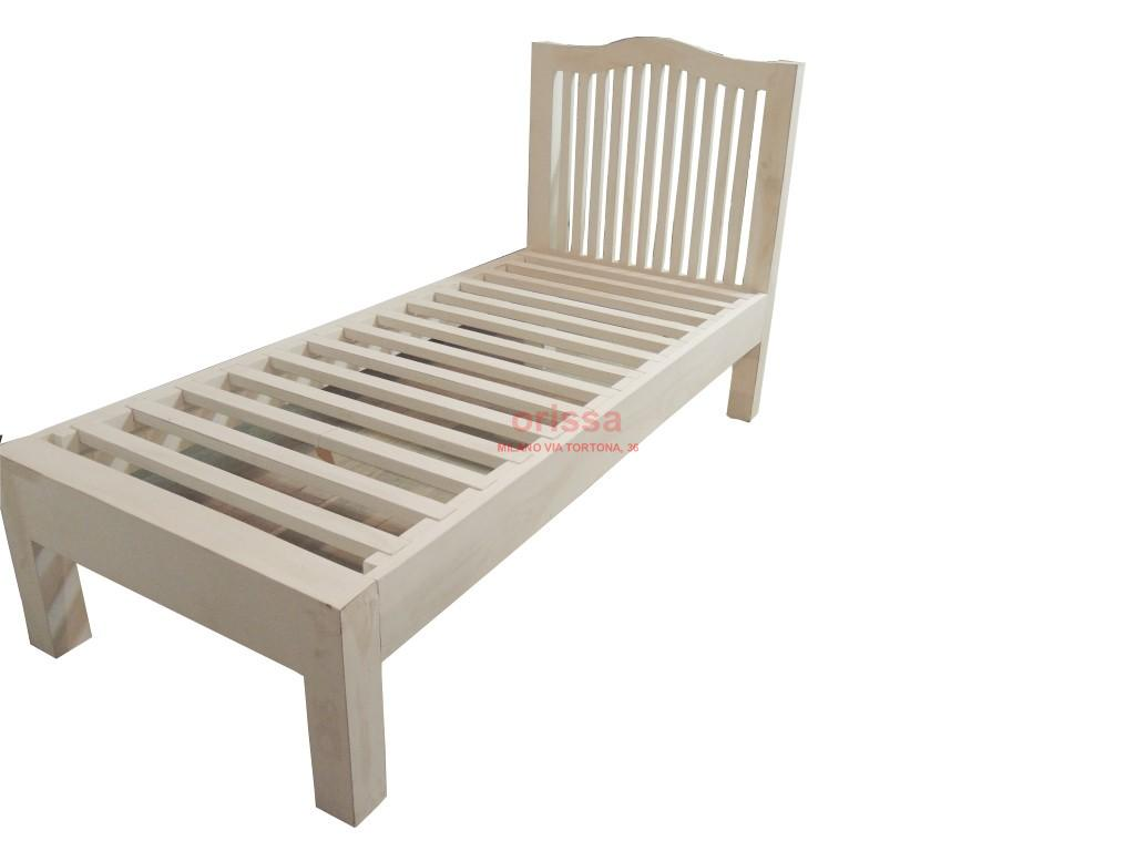 Letto singolo in legno massello con testata or135 - Spalliera letto matrimoniale legno ...