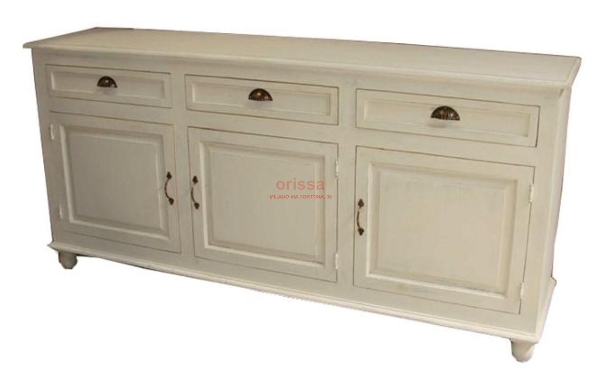Credenza bassa legno massello bianca decapata or188 for Cassettiere basse