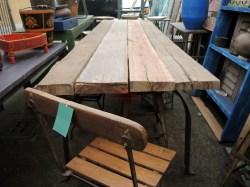 tavolo rustico con assi e gamba in ferro e0174 orissa
