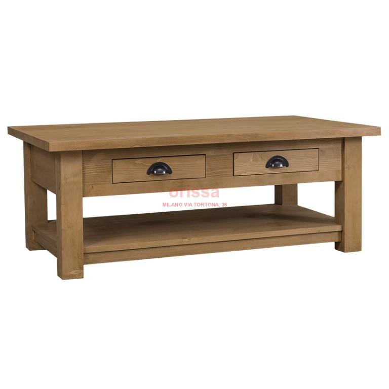 Tavolo basso con cassetto e mensola ms131 orissa milano - Tavoli da fumo in legno ...