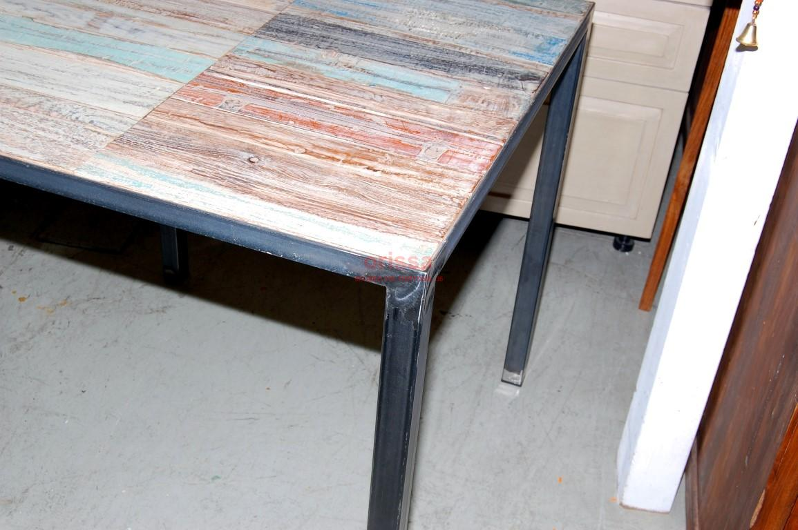 Tavolo shabby con base in ferro sht002 orissa milano for Sedie ferro legno