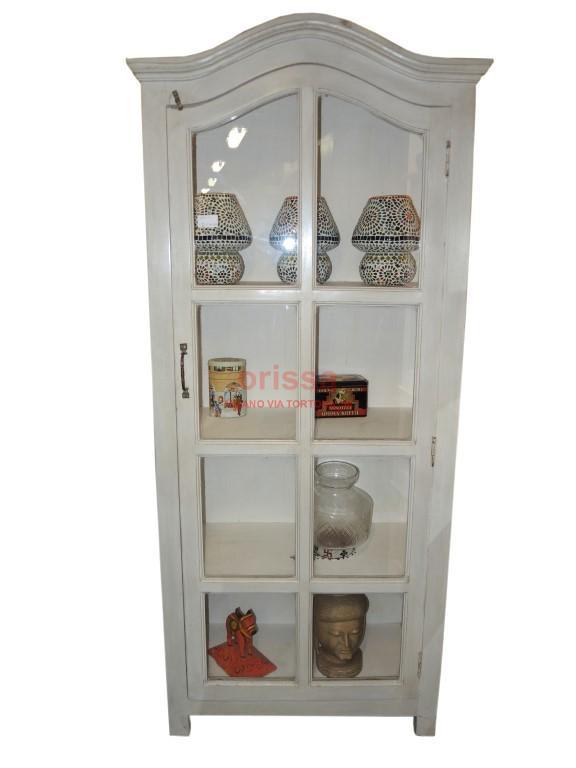 Vetrina stile provenzale in legno massello bianco decapato - Cucina legno bianco decapato ...