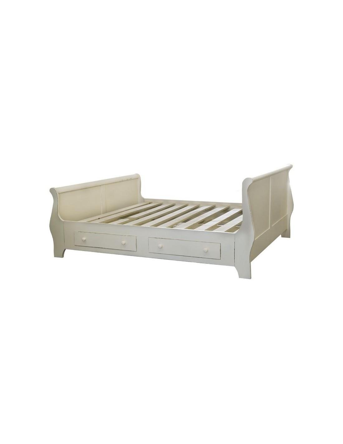 Letto a barca singolo in legno colorato provenzale ms0612d 90200 mobili shabby eu by orissa for Letto singolo con cassetti
