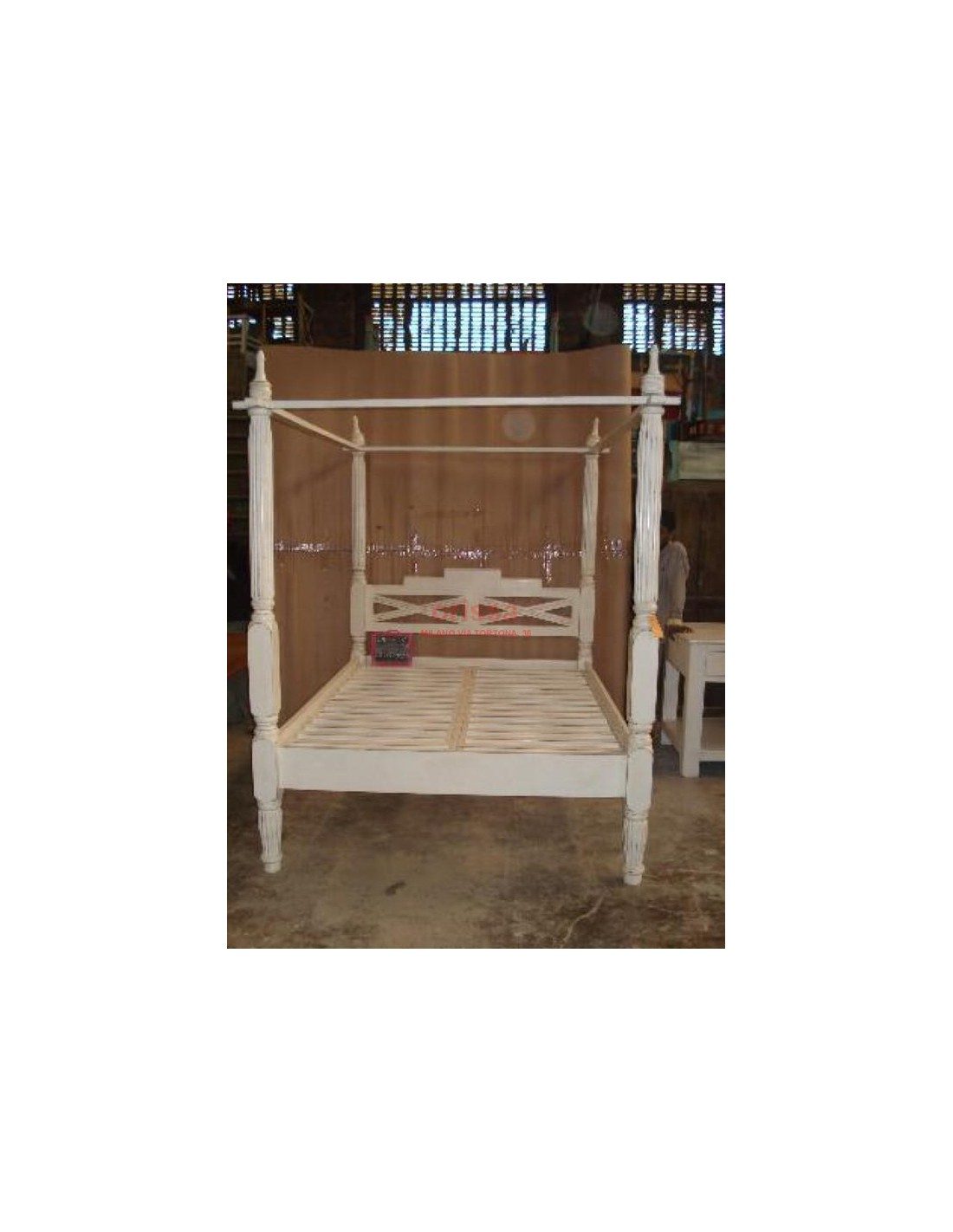 Letto a baldacchino in legno massello con doghe OR036 - Orissa Milano