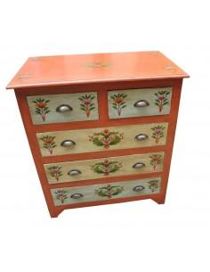 Cassettiera decorata 5 cassetti