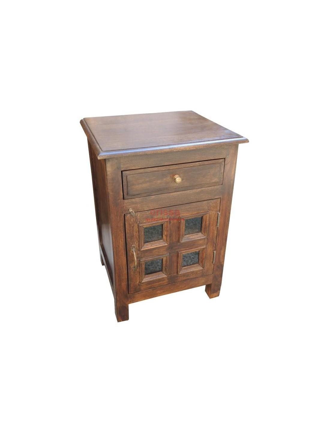 Comodino chiuso in legno massello con cassetto ed antina. OR065 ...