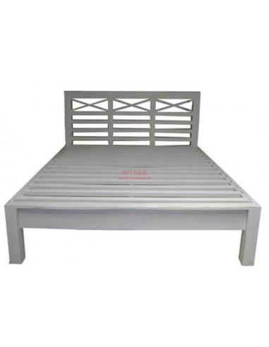 Letto in legno massello bianco decapato stile provenzale or134 orissa milano - Testata letto in legno ...