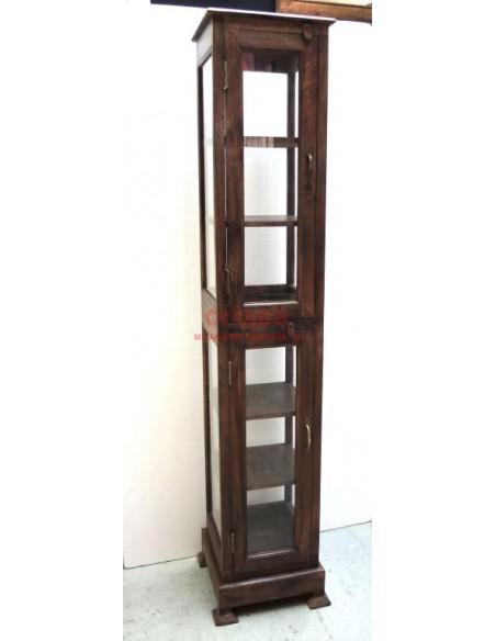 Vetrina a colonna in legno massello