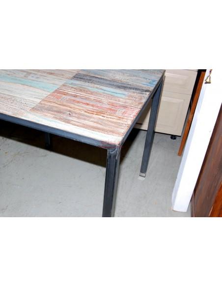 Tavolo Shabby con base in ferro