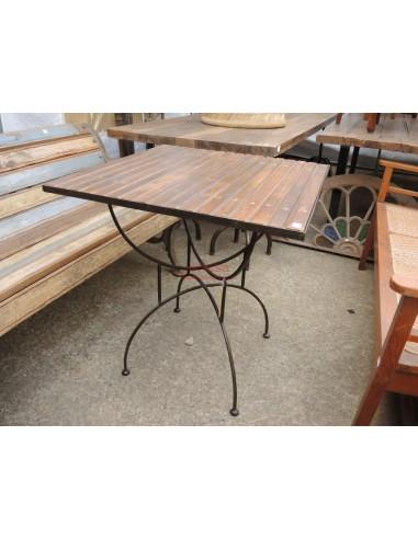 Tavoli In Ferro E Legno.Tavolo Base Ferro Piano Legno Per Esterno Per Terrazzi C0531