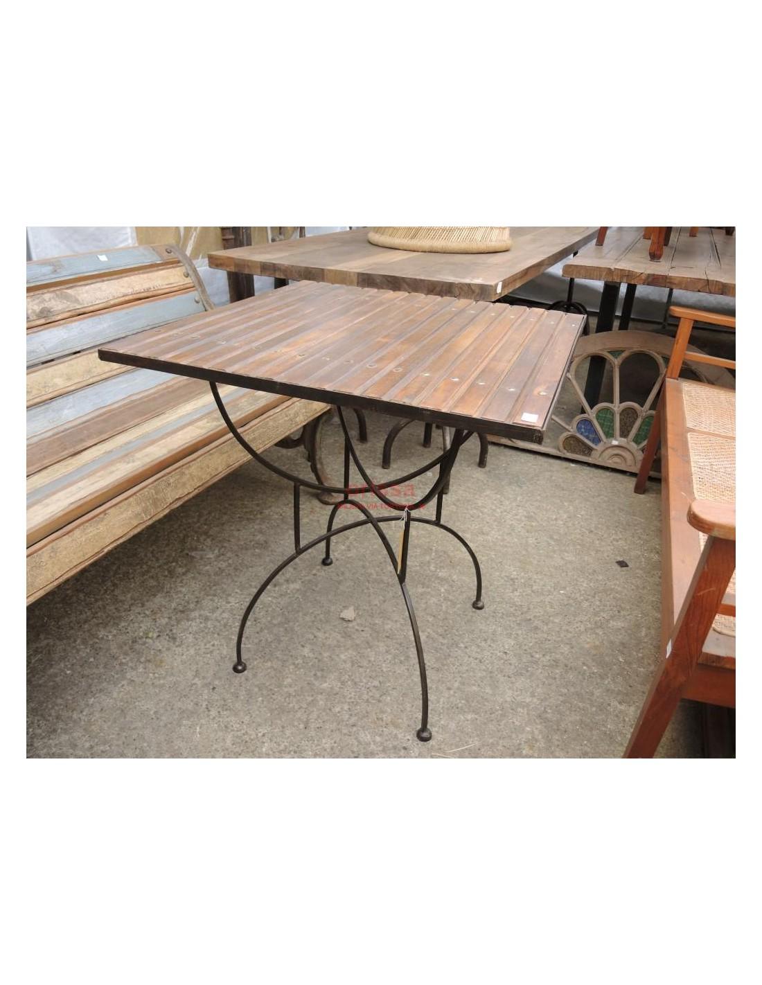 Tavolo base ferro piano legno per esterno per terrazzi c0531 orissa milano - Tavolo legno e ferro ...