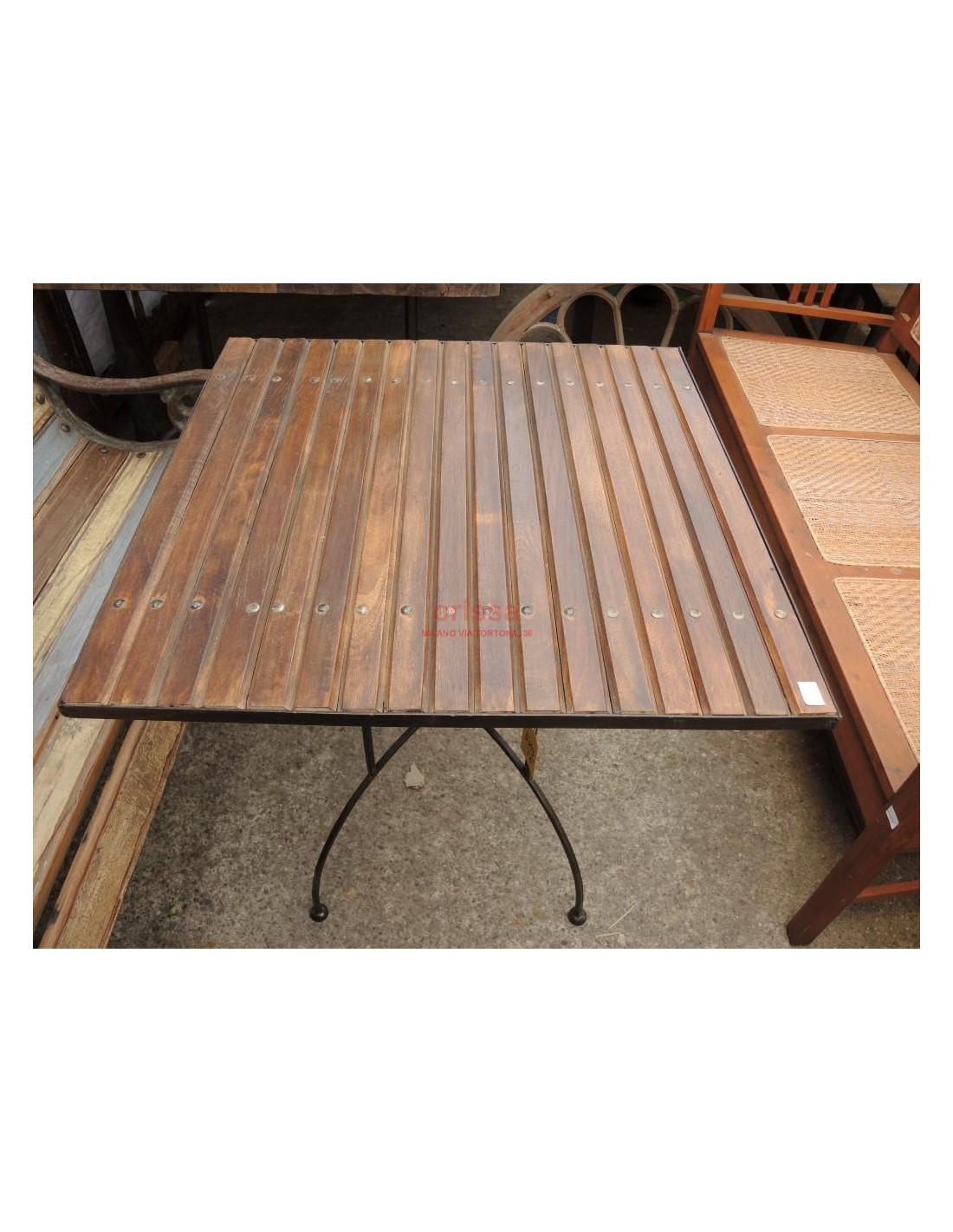 Tavolo base ferro piano legno per esterno per terrazzi ...