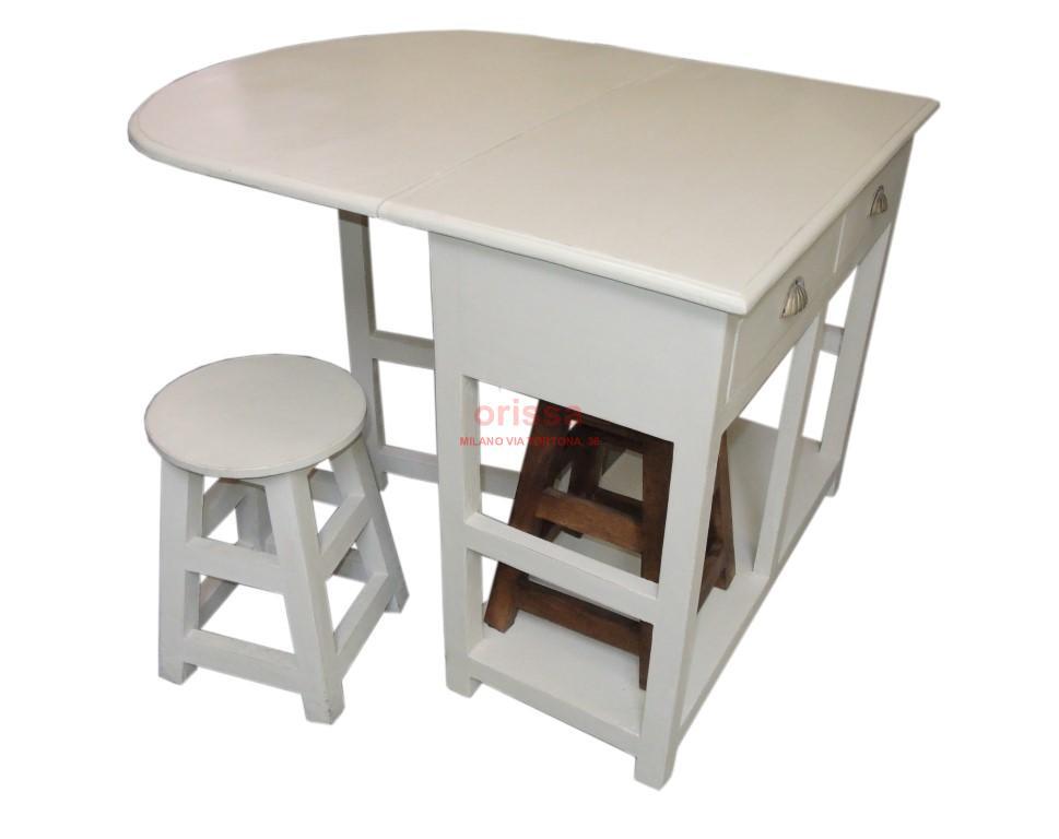 Sgabelli con tavolo : Tavolo consolle con aletta e sgabelli bianco decapato or