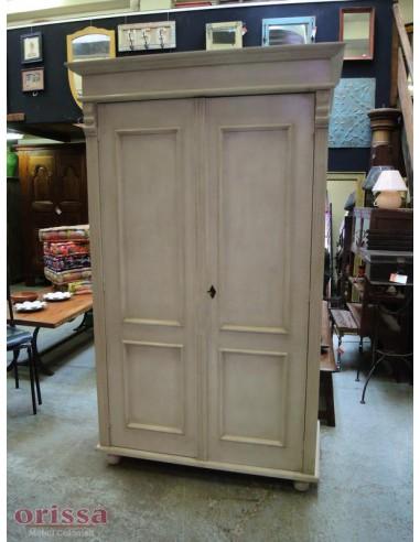 armadio legno massello bianco decapato, shabby chic, colorato OMS245 ...