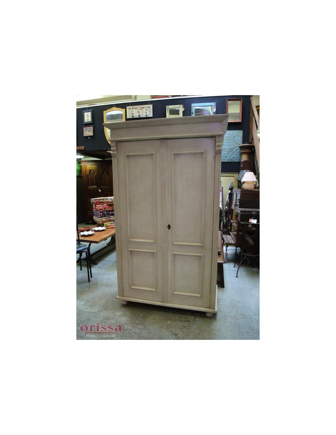 Armadio legno massello bianco decapato shabby chic colorato oms245 orissa milano - Mobili decapati bianchi ...