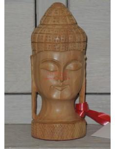 Testa Buddha legno massello