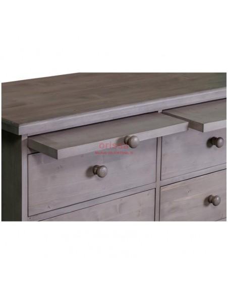 Cassettiera 9 cassetti legno colore grigio decapato