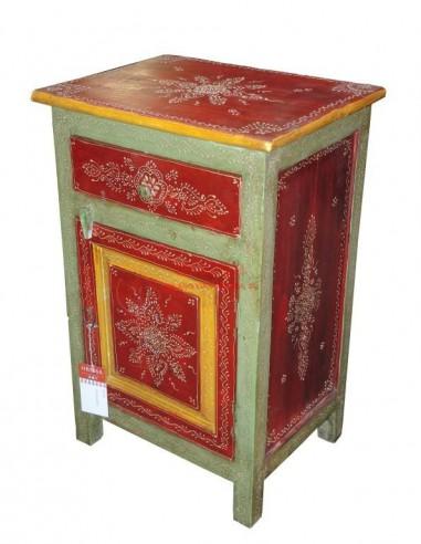 Comodino etnico decorato rosso