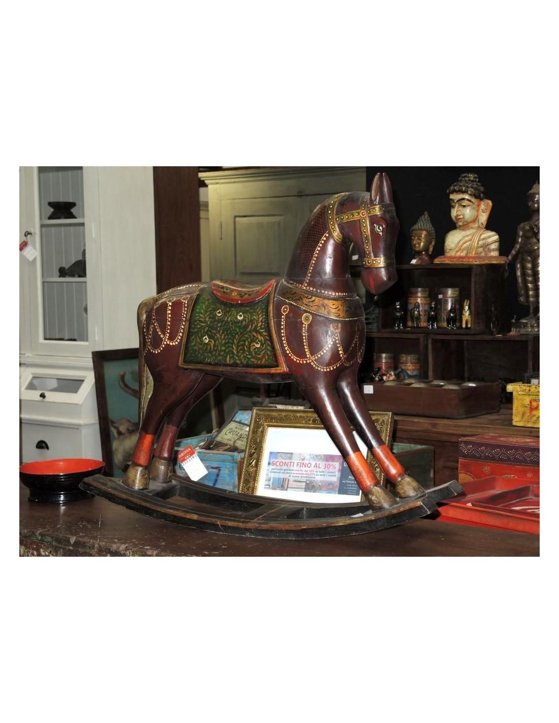 Cavallo A Dondolo Legno.Cavallo A Dondolo Legno Colorato F4181 Orissa Milano