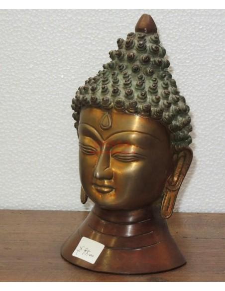 Statua testa Buddha in lega
