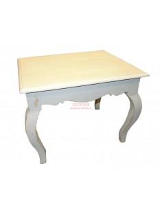 Tavolino legno massello bianco decapato