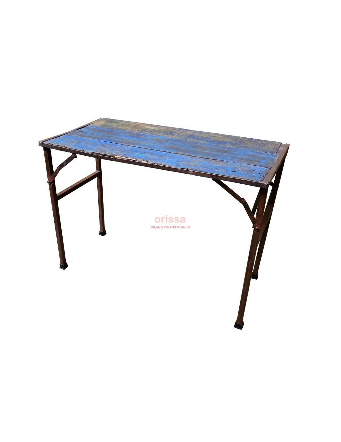 Tavoli Allungabili E Pieghevoli.Tavolo Ferro E Legno Pieghevole D0906 Orissa Mobili Coloniali