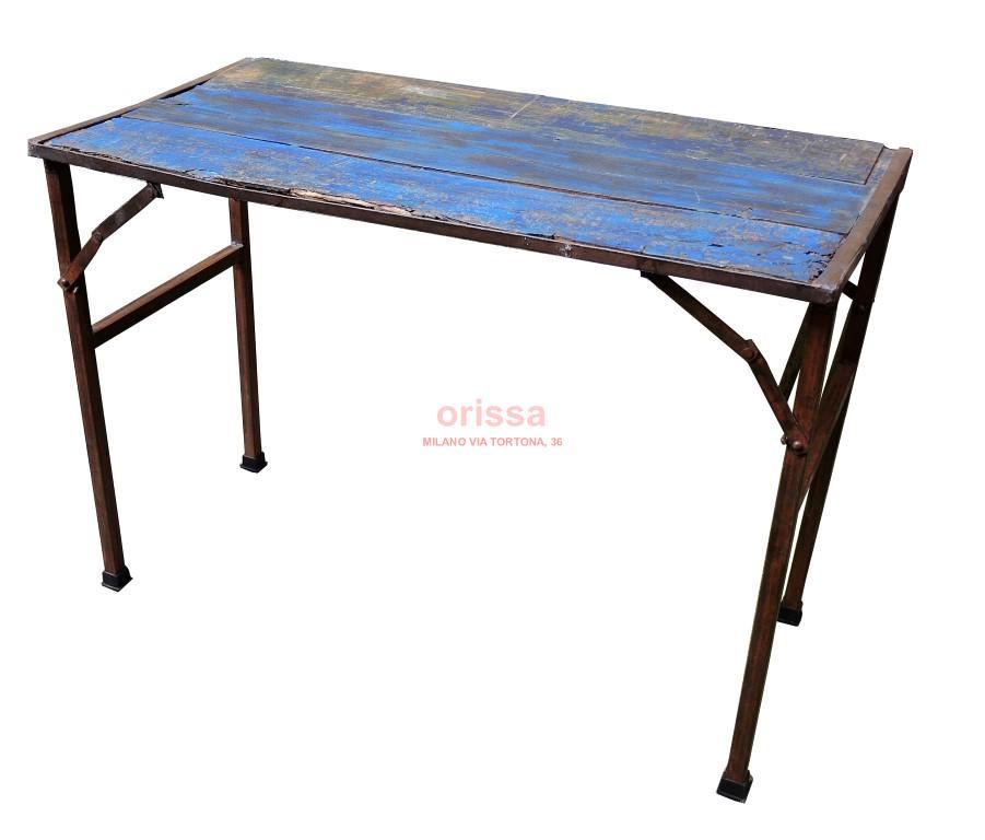 Tavolo ferro e legno pieghevole D0906 - Orissa Milano