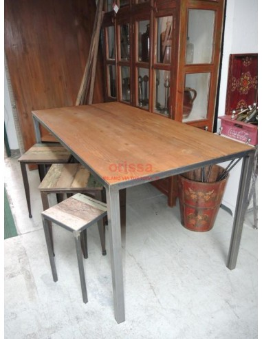 Tavolo piano in teak struttura ferro battuto
