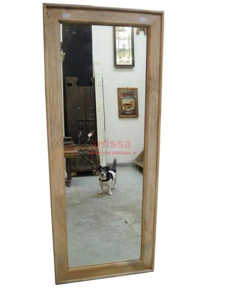 Cornice specchio in legno massello grezzo