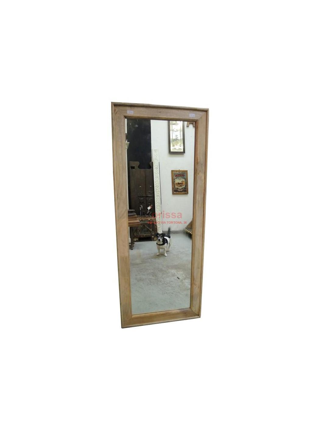 Cornice specchio in legno massello grezzo f8m11 orissa - Specchio in legno ...