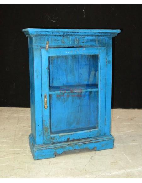 Vetrinetta pensile shabby chic colore blu